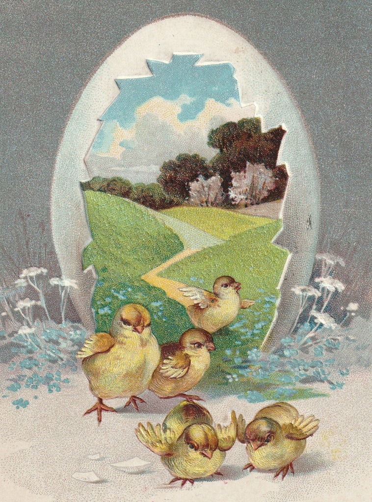 Easter Chicks Greeting Antique Postcard Close Up
