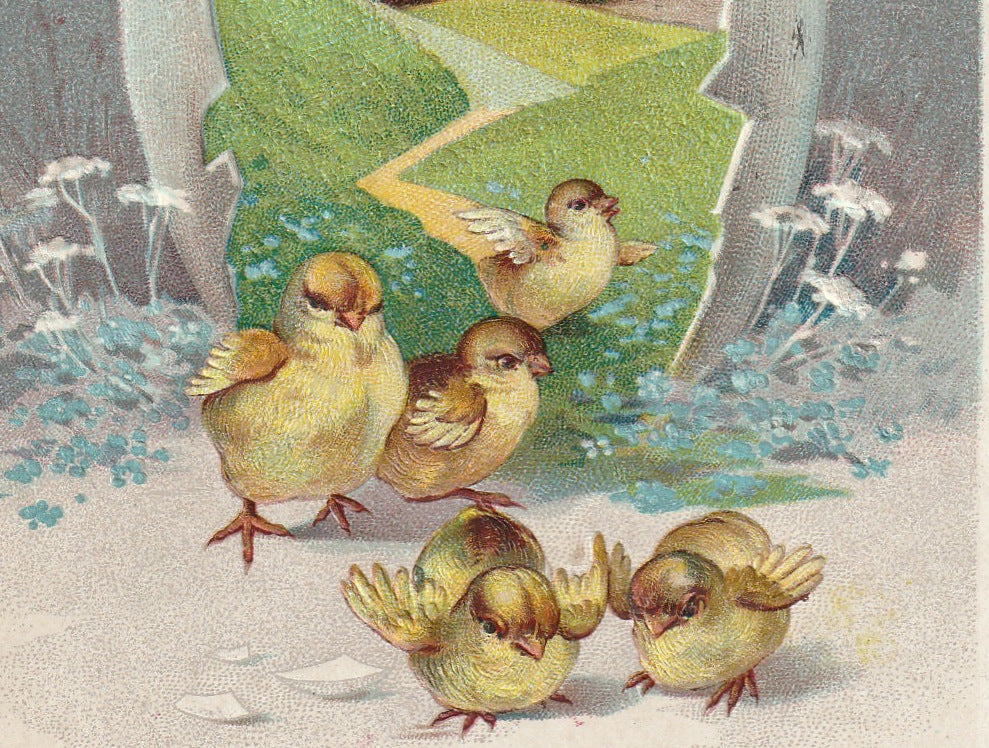Easter Chicks Greeting Antique Postcard Close Up 2