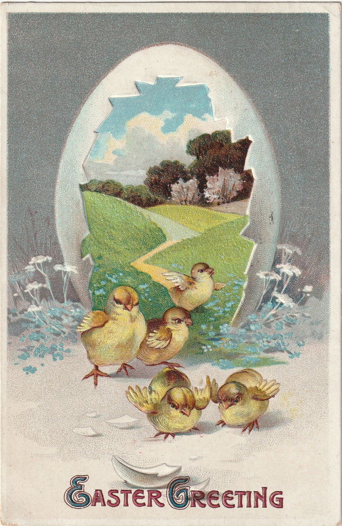 Easter Chicks Greeting Antique Postcard