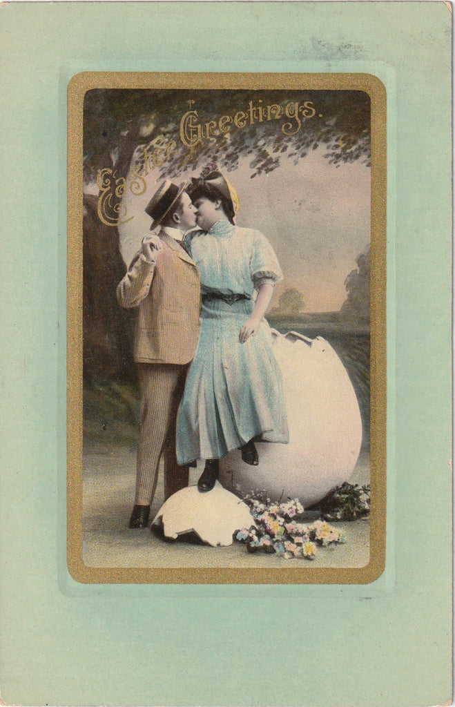 Easter Kisses Antique Postcard