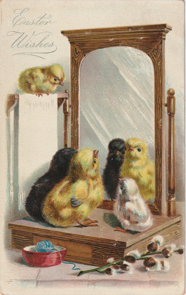 Easter Wishes Mirror Reflection Antique Postcard