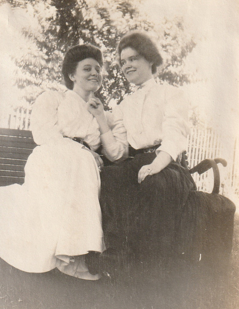 Edwardian Girlfriends Antique Photograph Close Up