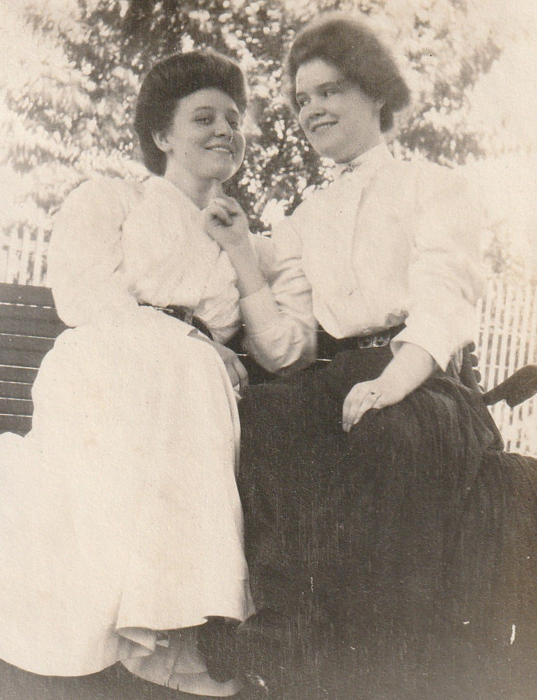 Edwardian Girlfriends Antique Photograph Close Up 2