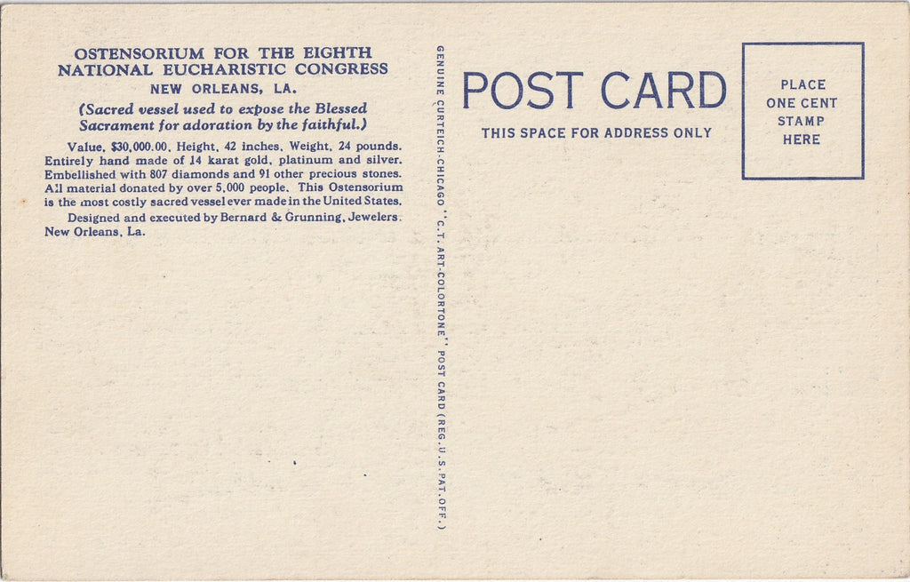 Eighth National Eucharistic Congress New Orleans Postcard Back