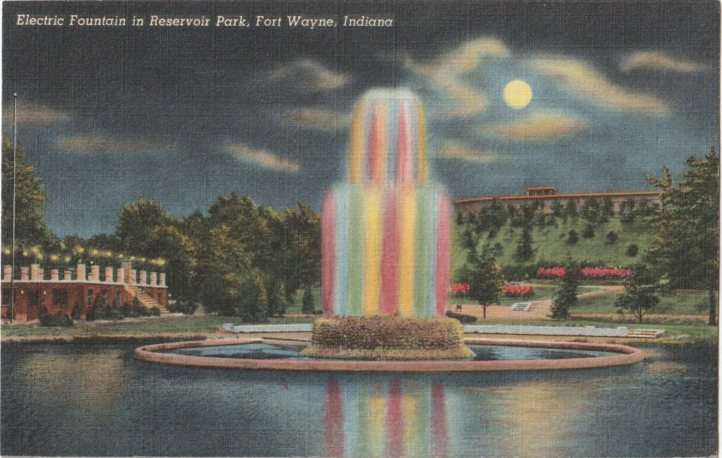 Electric Fountain Resevoir Park Fort Wayne IN Postcard