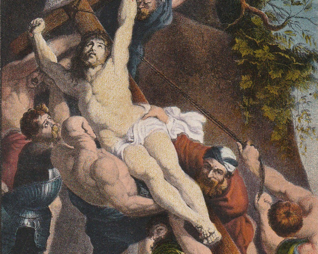 Elevation of the Cross  P. Rubens Postcard Close Up 3