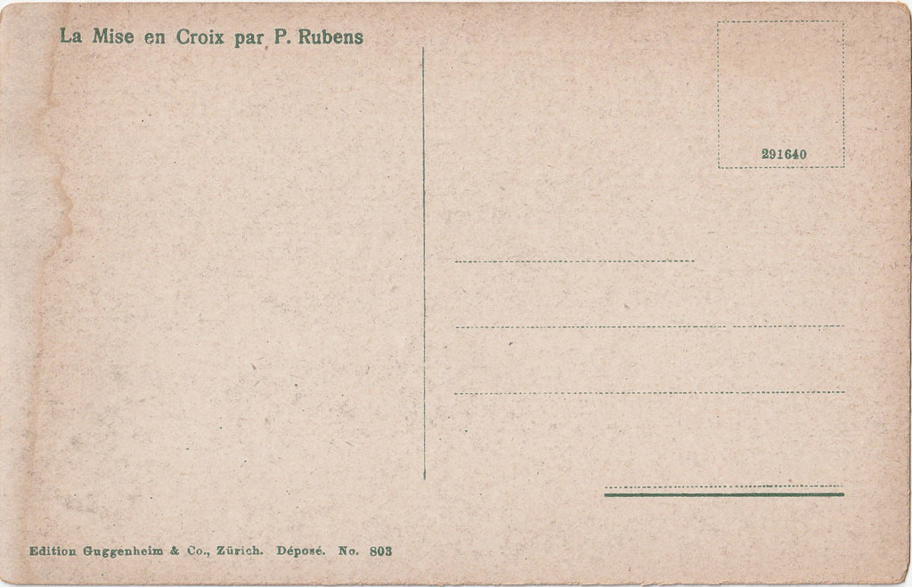 Elevation of the Cross  P. Rubens Postcard Back