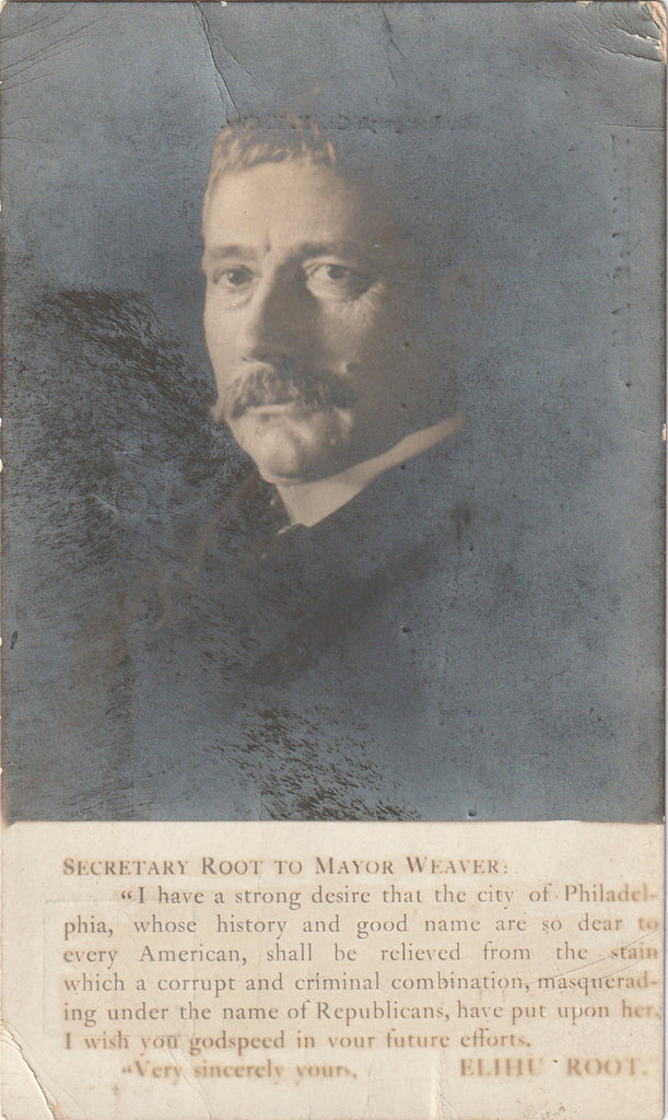 Elihu Root to Mayor Weaver Rotograph RPPC 1905