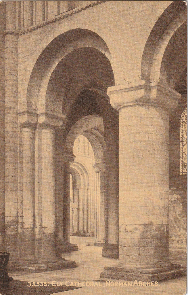 Ely Cathedral Norman Arches Antique Postcard