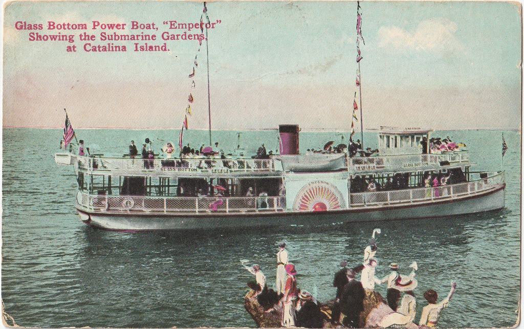 Emporer Glass Bottom Power Boat Submarine Gardens Catalina Island Postcard
