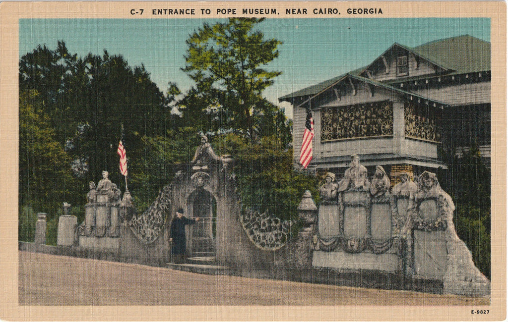 Entrance to Pope Museum Cairo GA Vintage Postcard