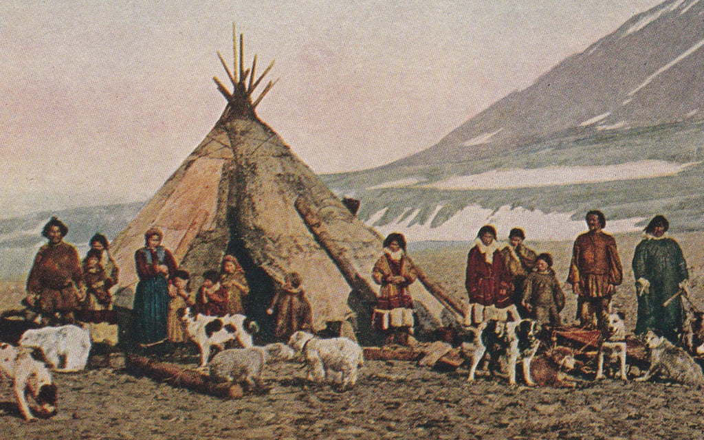 Eskimo Family in Greenland Antique Postcard Close Up