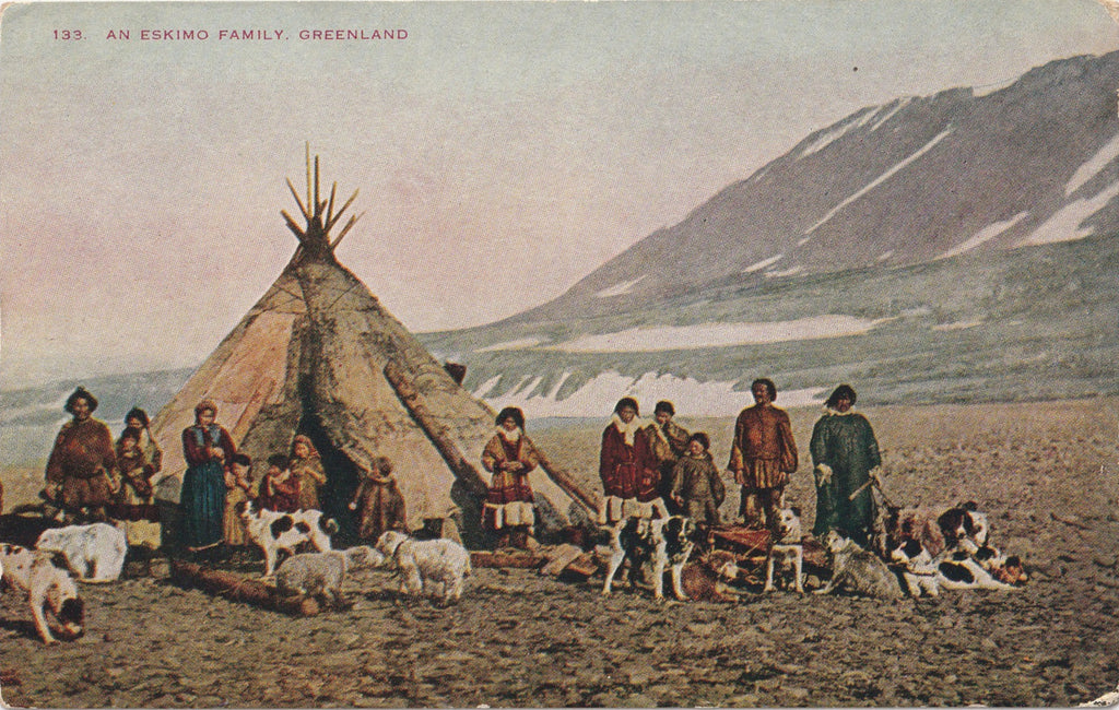 Eskimo Family in Greenland Antique Postcard