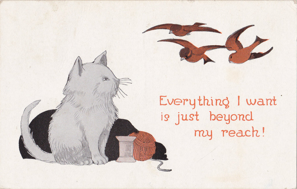 Just Beyond My Reach- 1920s Antique Postcard- White Cat and Birds- Persian Cat Art- Everything I Want- Kitten Comic- Used