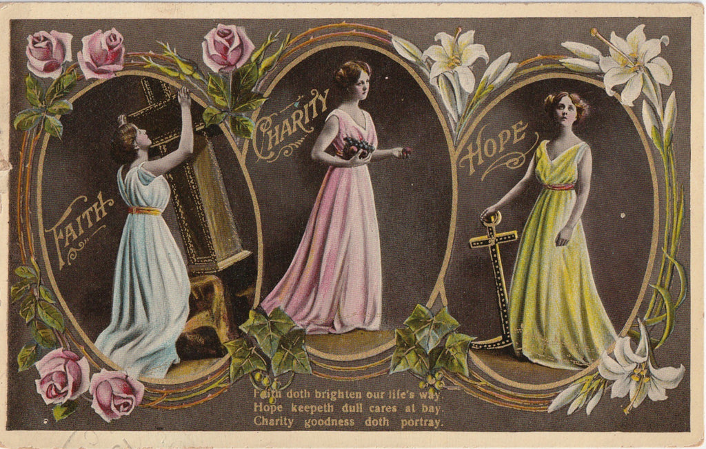 Faith Charity Hope Antique Postcard