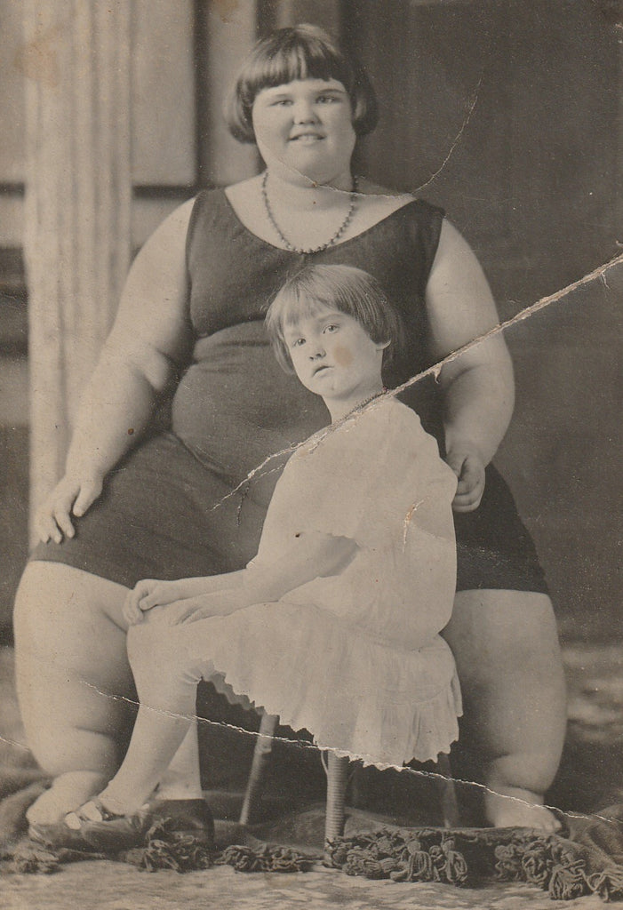 Fat Girl Human Oddity RPPC Close Up