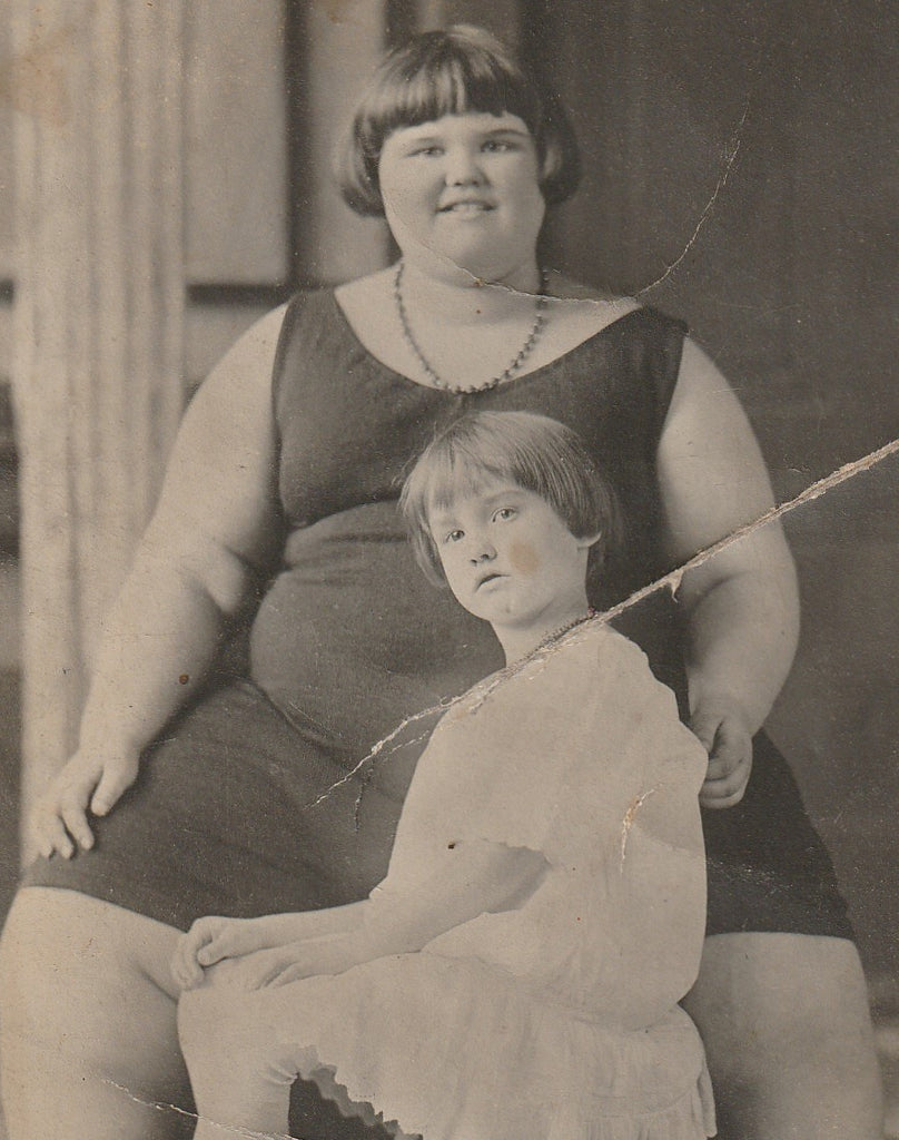 Fat Girl Human Oddity RPPC Close Up 2