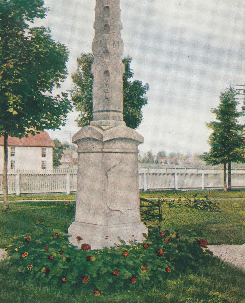 Father Marquette's Monument St. Ignace Michigan Postcard Close Up
