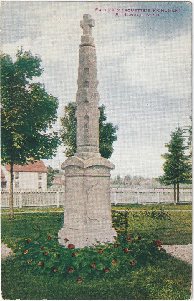 Father Marquette's Monument St. Ignace Michigan Postcard
