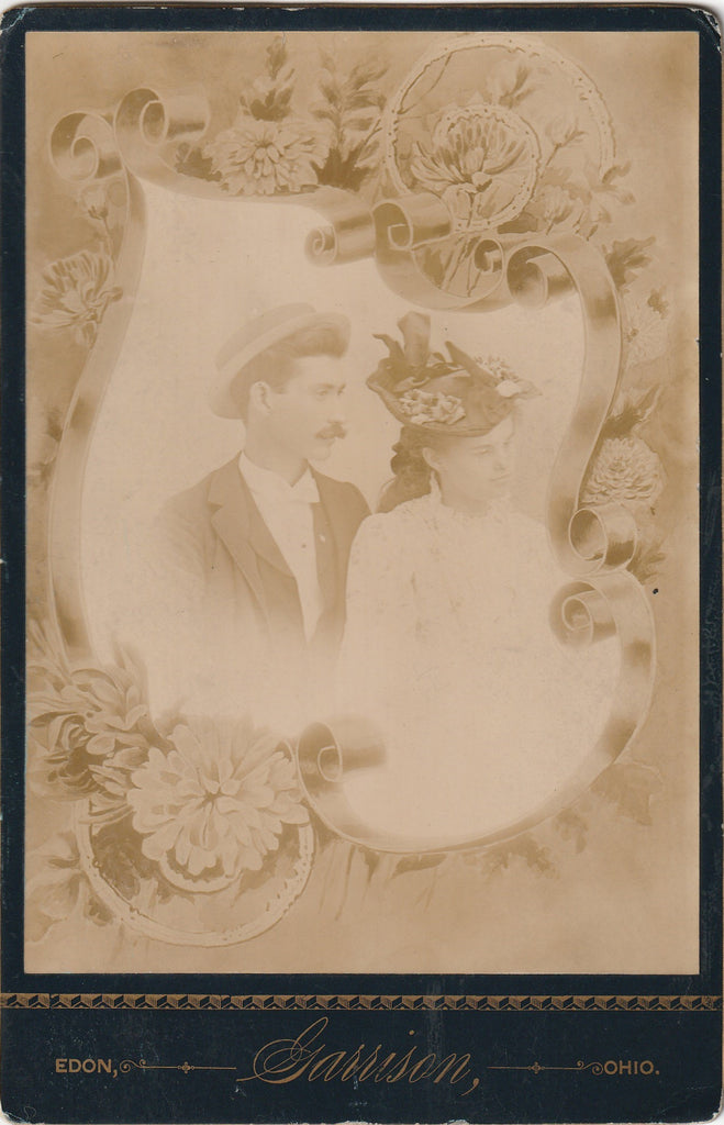 Father, Daughter Victorian Memorial Portrait - Edon, Ohio - Cabinet Photo, c. 1800s