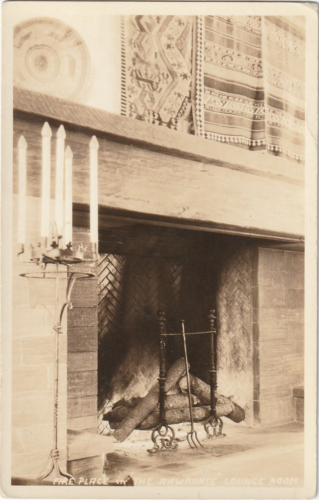 Fireplace Ahwahnee Lounge Room Yosemite Vintage RPPC