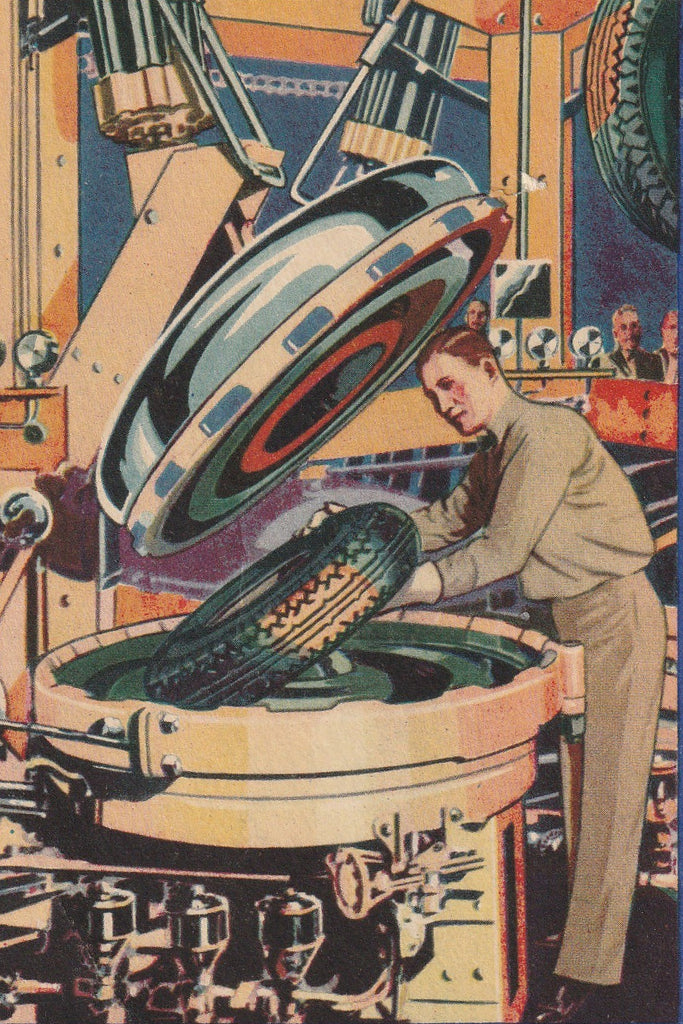 Firestone Automatic Curing Molds Century of Progress Chicago Postcard Close Up