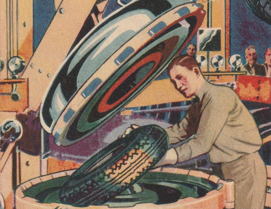 Firestone Automatic Curing Molds Century of Progress Chicago Postcard Close Up 3
