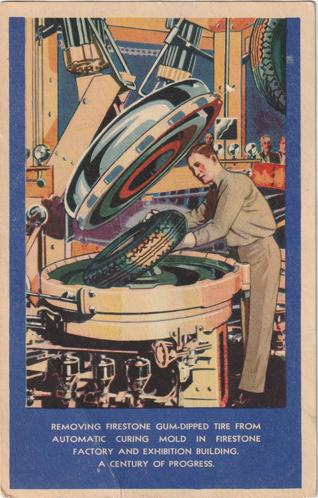 Firestone Automatic Curing Molds Century of Progress Chicago Postcard