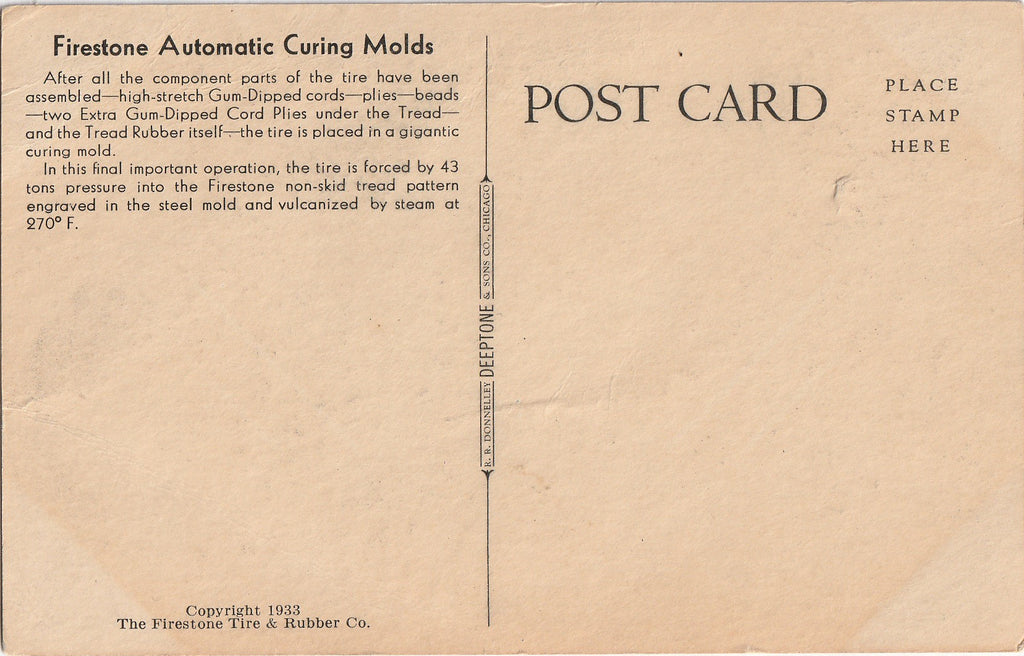 Firestone Automatic Curing Molds Century of Progress Chicago Postcard Back