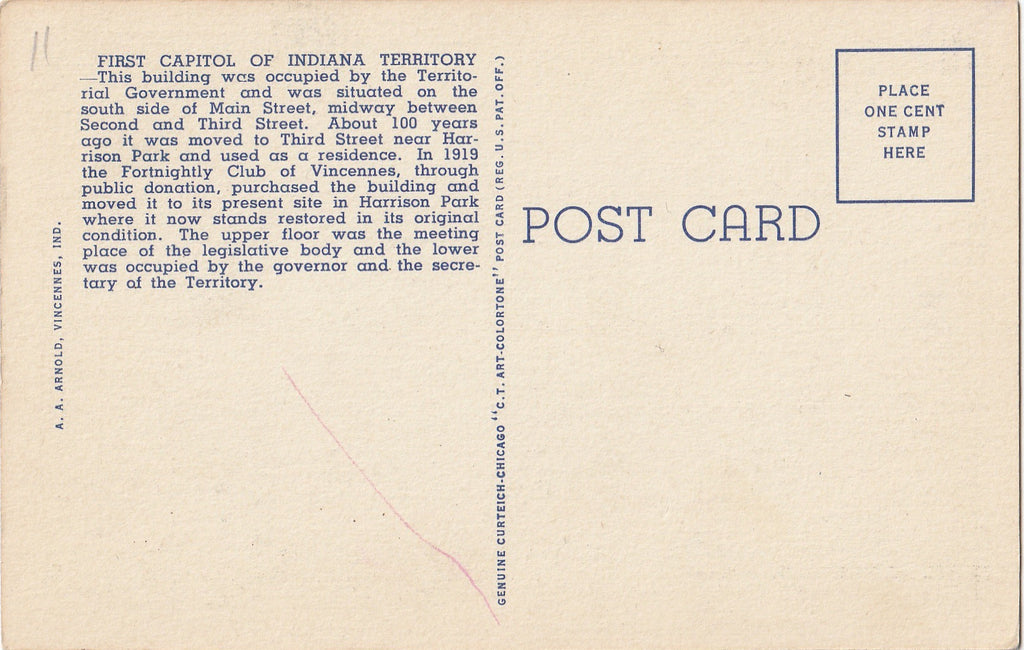First Capitol of Indiana Territory Vincennes Postcard Back