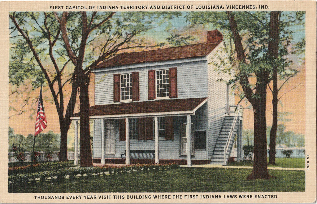 First Capitol of Indiana Territory Vincennes Vintage  Postcard