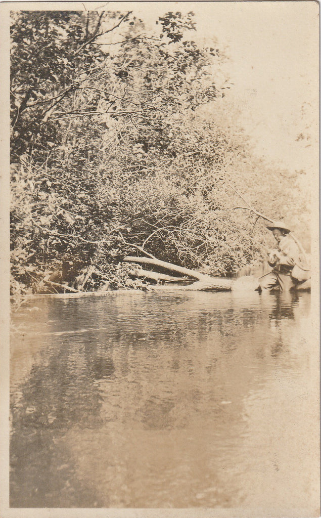 Fishing in the Kalamazoo River, Michigan - RPPC, c. 1900s