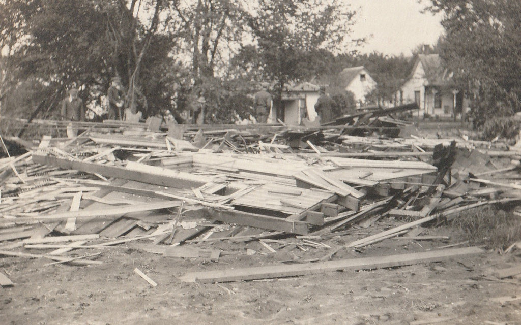 Flattened House Disaster Aftermath RPPC Photo