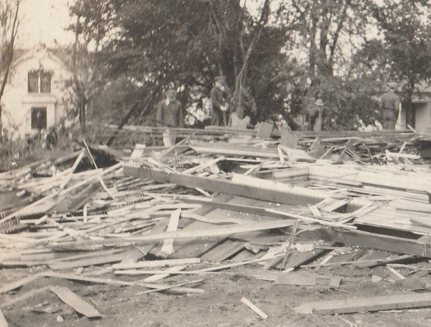 Flattened House Disaster Aftermath RPPC Close Up