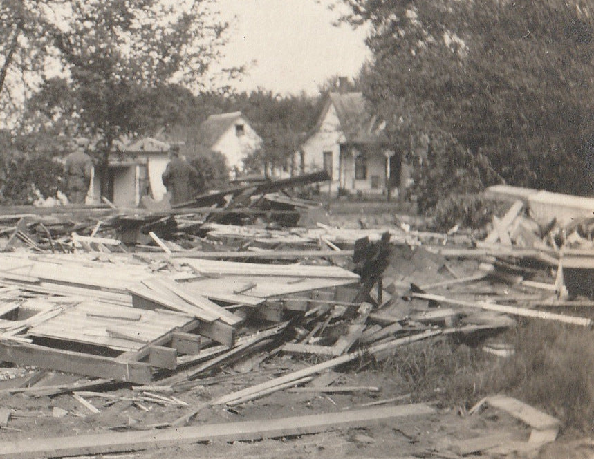 Flattened House Disaster Aftermath RPPC Close Up 2
