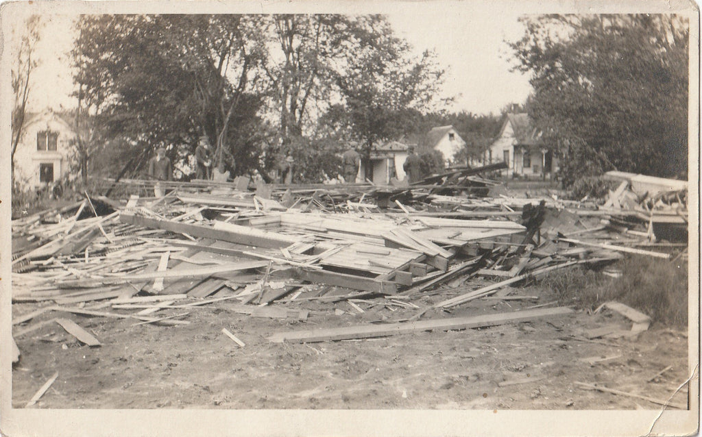 Flattened House Disaster Aftermath RPPC