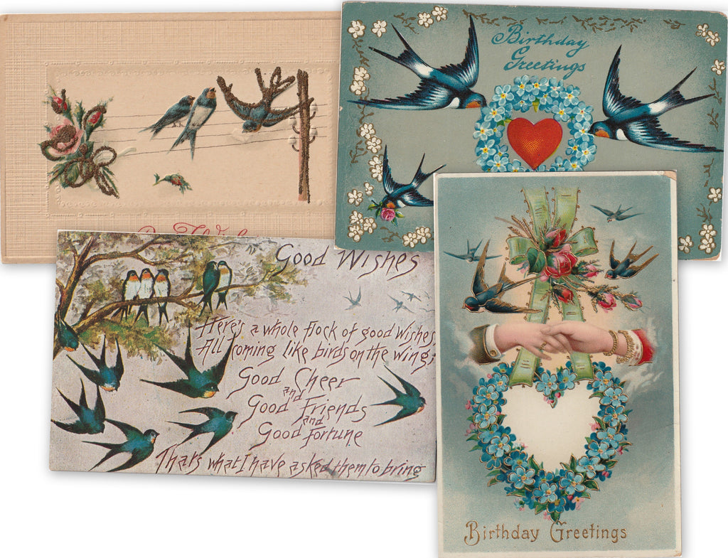 Flock of Good Wishes - SET of 4 - Postcards, c. 1910s