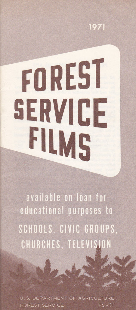 Forest Service Films 1971- 1970s Vintage Booklet- Index of Titles- Educational Films List- U.S. Department of Agriculture- Paper Ephemera