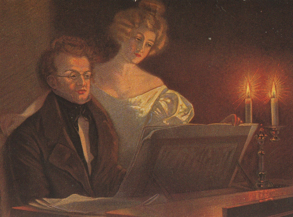 Franz Schubert at Piano Postcard Close Up