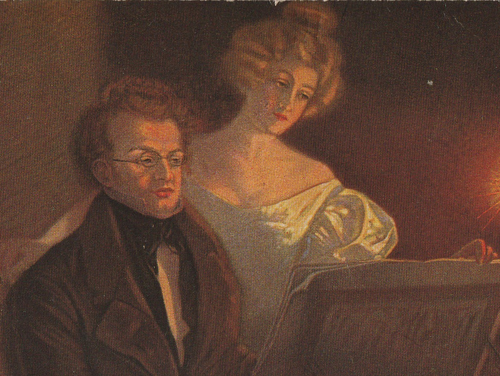 Franz Schubert at Piano Postcard Close Up 2