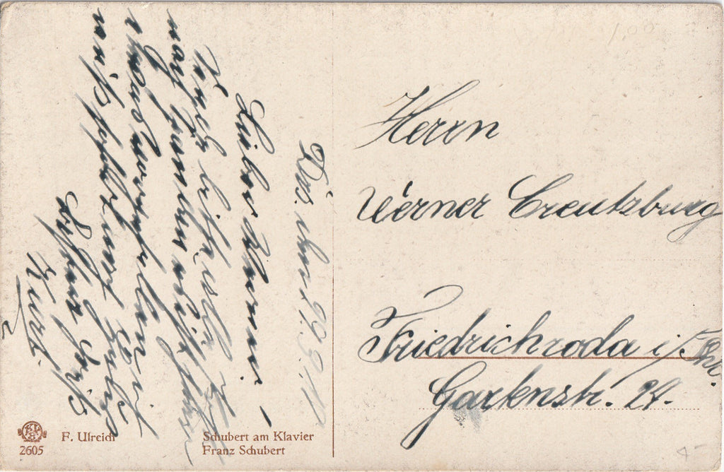 Franz Schubert at Piano Postcard Back