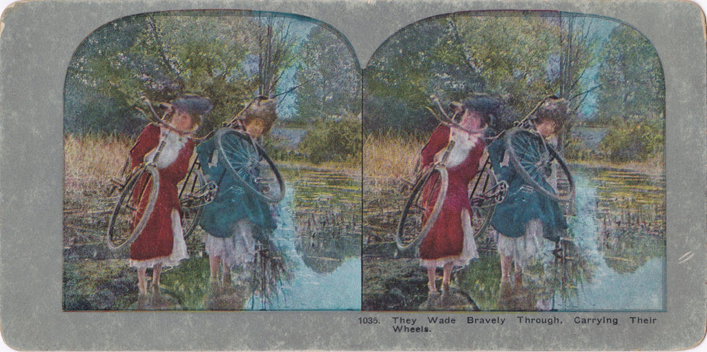 French Bicycle Maidens- 1800s Antique Stereoview- Victorian Women- Stereoscopic- Wading Water- Risque Ankles- Paper Ephemera