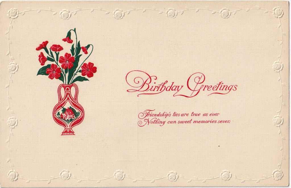 Friendship's Ties Poppy Flowers Birthday Antique Postcard