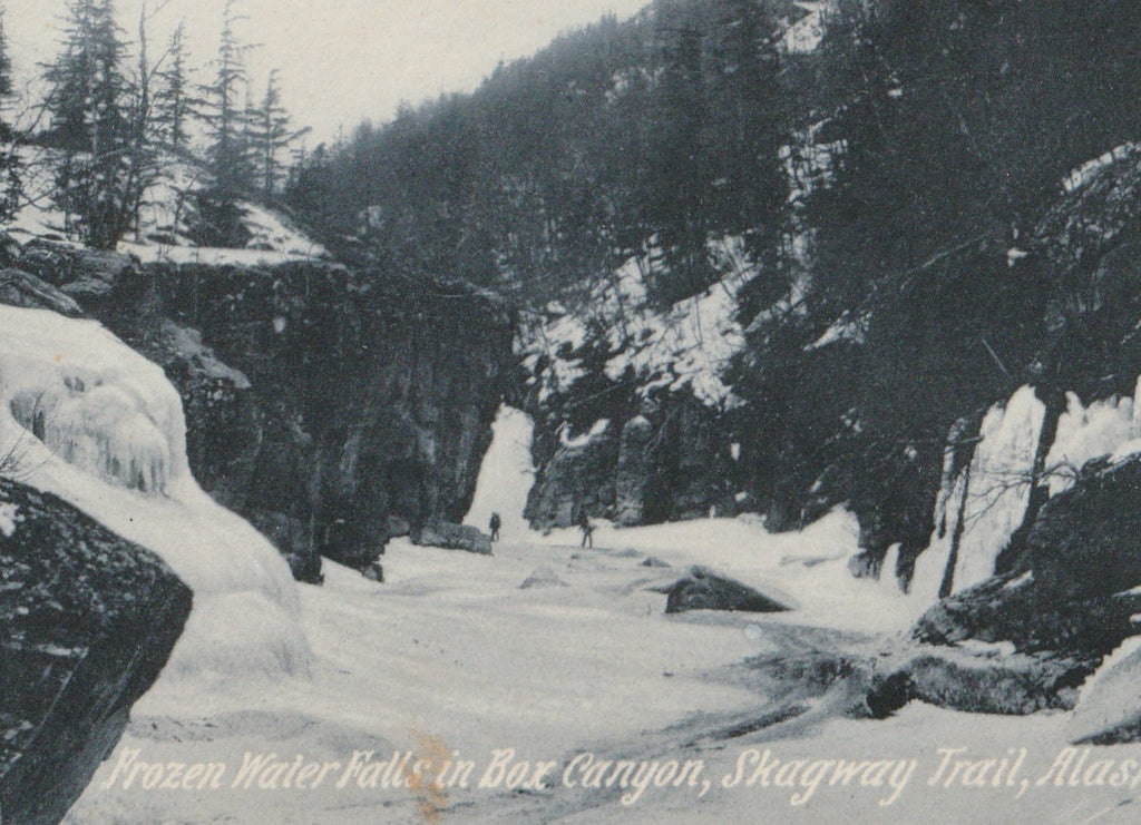 Frozen Waterfall Box Canyon Skagway Trail Alaska Antique Postcard Close Up