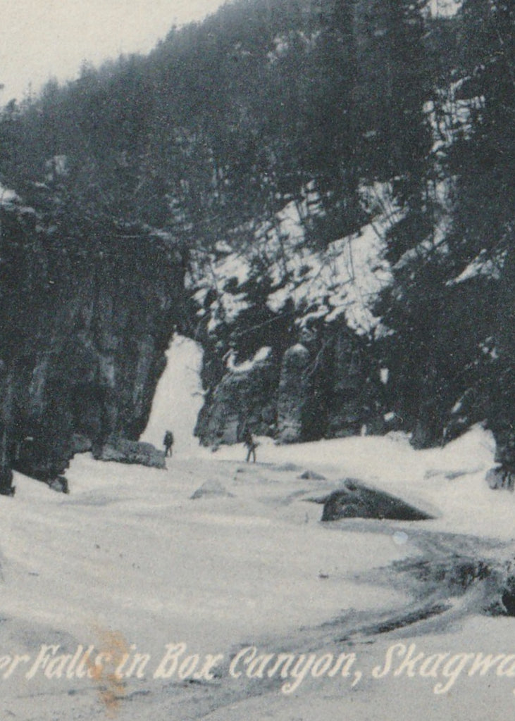 Frozen Waterfall Box Canyon Skagway Trail Alaska Antique Postcard Close Up 2