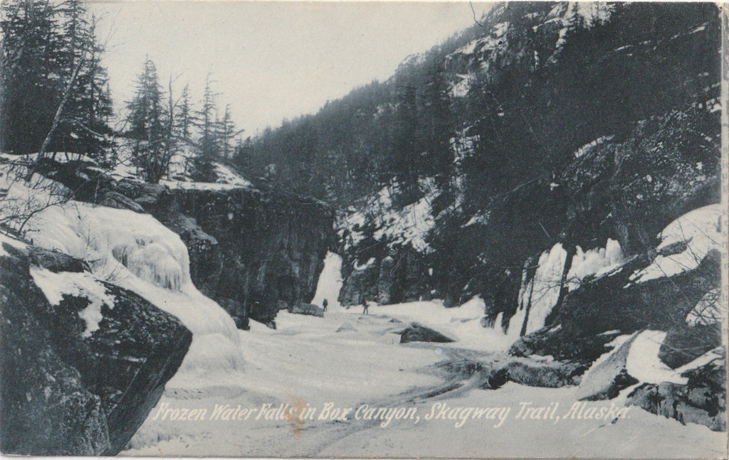 Frozen Waterfall Box Canyon Skagway Trail Alaska Antique Postcard