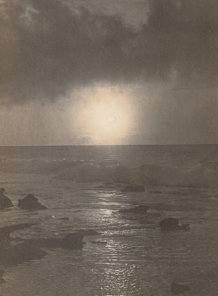 Full Moon Rise on the Ocean La Jolla CA Antique Photo RPPC Close Up