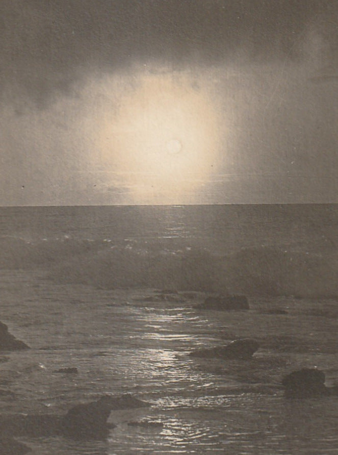 Full Moon Rise on the Ocean La Jolla CA Antique Photo RPPC Close Up 2
