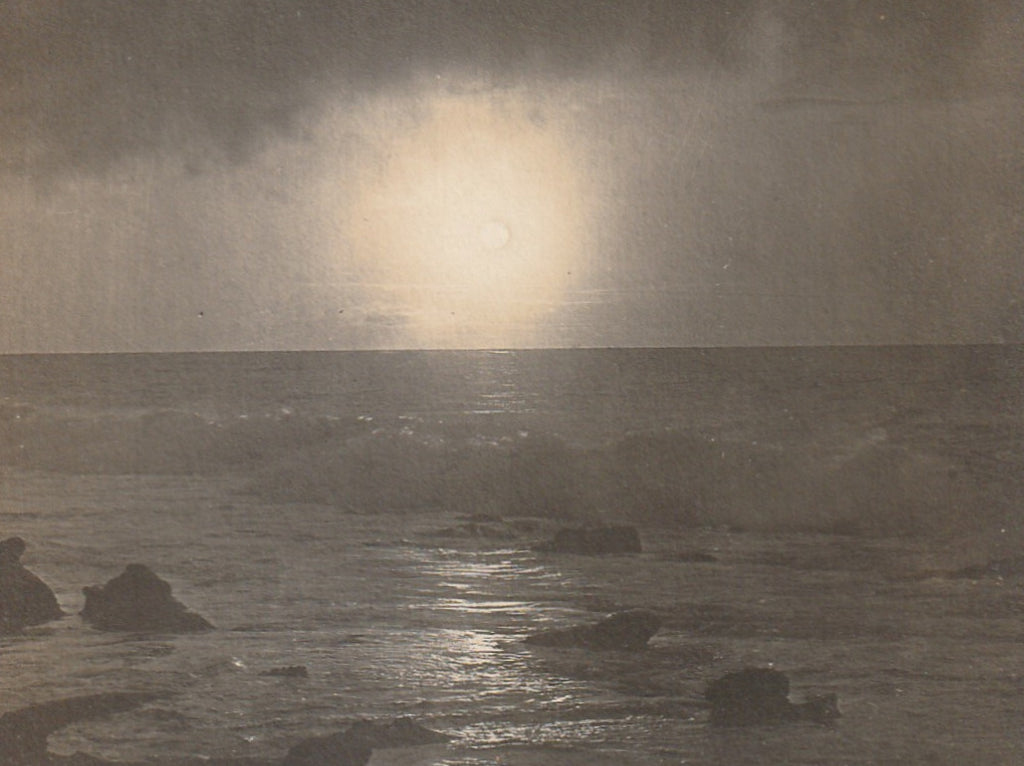 Full Moon Rise on the Ocean La Jolla CA Antique Photo RPPC Close Up 3