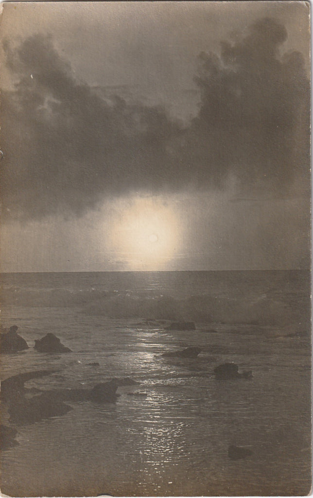 Full Moon Rise on the Ocean La Jolla CA Antique Photo RPPC